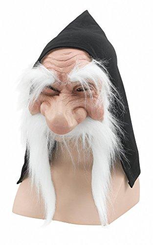 shoperama Zwerg Maske mit Kapuze Erwachsene Latex Wichtel Gartenzwerg, Schneewittchen
