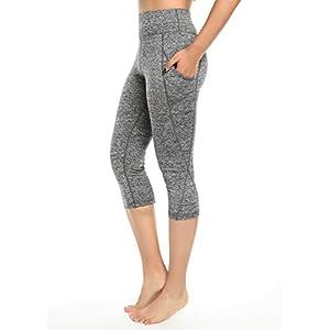 INSTINNCT Damen Doppeltaschen Sport Leggings 3/4 Yogahose Sporthose Laufhose Training Tights mit Handytasche