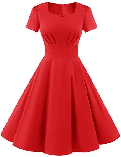 Dresstells Damen Vintage 50er Rockabilly Kurzarm Swing Kleider Partykleid Red L