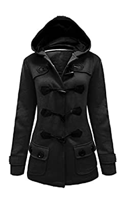 New Womens Ladies Hooded Duffle Trench Coat Jacket With Hood & Toggle Size 8-20