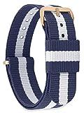 MOMENTO Damen Herren NATO Nylon Uhren-Armband Ersatz-Armband Uhren-Band mit Edelstahl-Schliesse in Rosé-Gold und Blau Weiss Gestreift 14mm