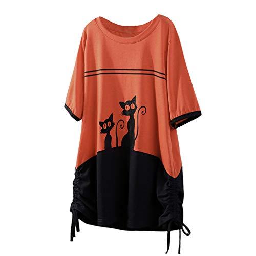 Kviklo Damen Westen Tank T-Shirt Sommer Gepunktet Druck Vintage Cap Kurzarm V-Ausschnitt Half-Button Top - Quad Spider