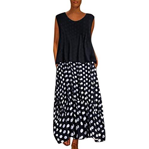 Zegeey Damen Kleid Retro ÄRmellos V-Ausschnitt BöHmen Blumen Drucken Sommer Maxikleid Sommerkleider Strandkleider Blusenkleid(A2-Schwarz,EU-40/CN-XL)