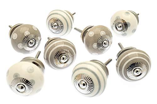 - Set aus Whisper Grau & Weiß Punkte und Streifen Keramik Schrank Knöpfe X Pack 8(mg-278)-\'Mango Baum\' TM eingetragenes Produkt