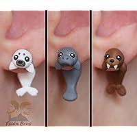 Boucles d'oreilles phoque, lamantin ou morse. Vendus par paire. 100% fait main.