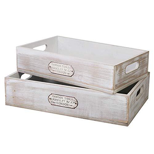 SLPR White Wooden Serving Tray mit Griffen (2er Set, Weiß) | Rustikale Bauernhaus Landhausstil Indoor Outdoor dekorative Tablett für Küche Schlafzimmer Esszimmer Kindergarten