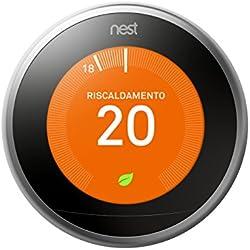 Nest T3010IT Termostato, Acciaio Inossidabile