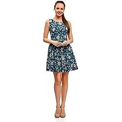 oodji Ultra Mujer Vestido Estampado con Lazo en la Espalda, Azul, ES 34 / XXS