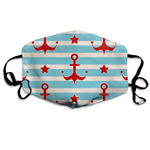 Daawqee Staubschutzmasken, Maritime Mood Pattern Face Masks Breathable Dust Filter Masks Mouth Cover Masks with Elastic Ear Loop (Kostüm Für Brillenträger)