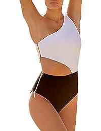Reißverschluss Badeanzug Frauen Damen Einteiler Badebekleidung Einfarbig