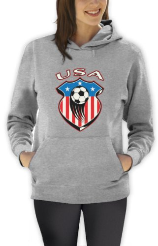TEAM USA World Cup Soccer Frauen Grau Small Kapuzenpullover Hoodie Amerika Shirts-fußball-team