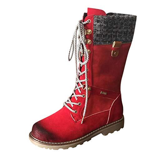 MOTOCO Frauen Stiefel Casual Runder Zeh Rom Retro Mitte der Wade Stiefel Schnüren Vintage Blockabsatz Booties(Rot,40 EU)
