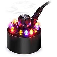 Huatuo que Cambia de Color 12 Luces LED Mist Maker Fuente de Agua Estanque Fogger Humidificador de Aire Atomizador con Adaptador de alimentación de CA (Negro)