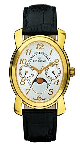 GROVANA 4406,1512-Orologio unisex al quarzo con Display analogico e cinturino in pelle nera, 4406,1512