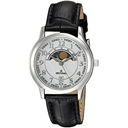 GROVANA 3026.1533 unisex quartz Watch with white Dial analogue Display and black leather Strap 3026.1533