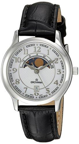 GROVANA - 3026.1533 - Montre Mixte - Quartz - Analogique - Moon Age Display - Bracelet Cuir Noir