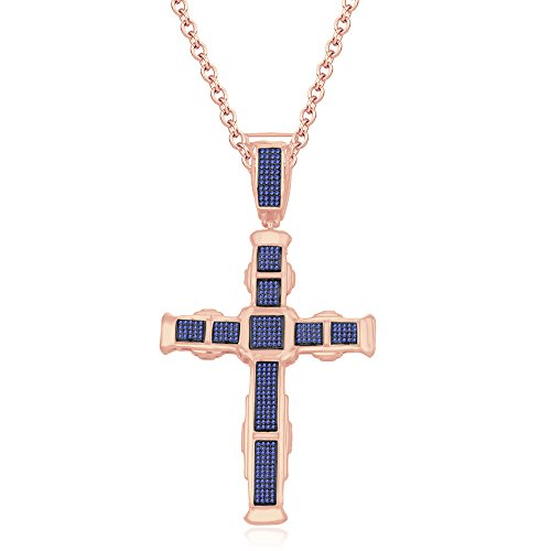 silvernshine Jewels HIS Her 14K Rose Gold FN Tansanit CZ Diamanten Micro pave Kreuz Anhänger Halskette (Tansanit Halskette Kreuz)