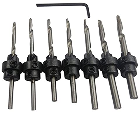 7 PCS HSS Countersink Bits Set Carpentry Tapered Screw Drill Woodworking Chamfer End Milling
