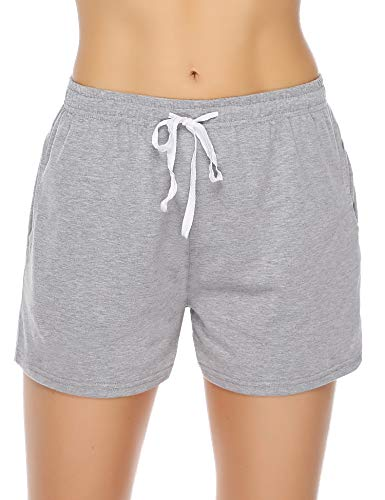 Aibrou Damen Schlafanzughose, Pyjama Shorts Jerseyhose Kurz Grau L
