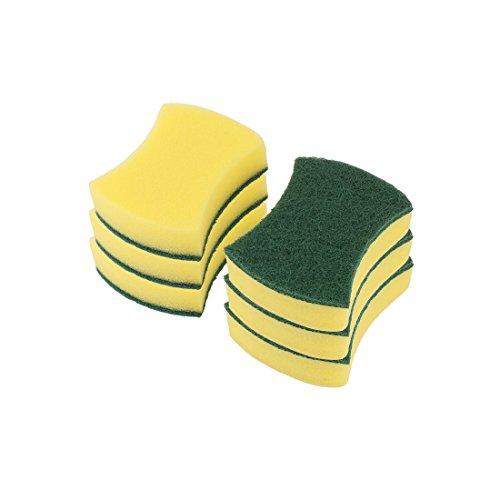 sourcingmap 6 Stk Haus Küchenutensilien Schwamm Schüssel Reiniger Reinigung Pad Grün Gelb (Küchenutensilien Gelb)