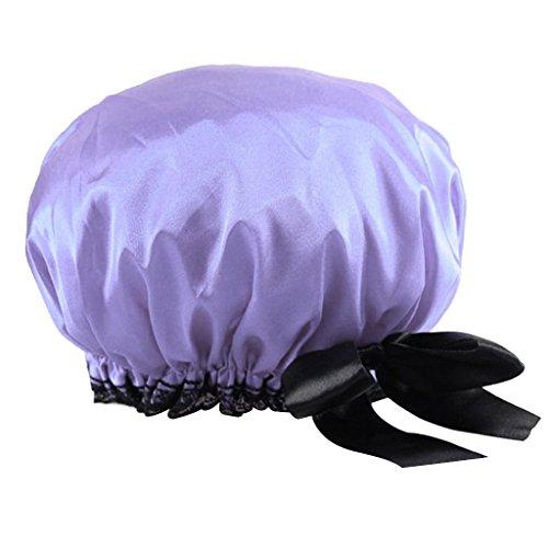 Bonnet de Douche Elastique Etanche Bowknot pour Femme - Pourpre
