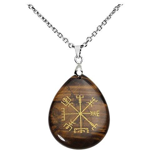 QGEM Tigerauge Edelstein Guidepost Kompass Vegvisir schmuck Anhänger Halskette Natur Edelstein Gravierte Alte Nordeuropa Viking Rune mit Kette 60cm