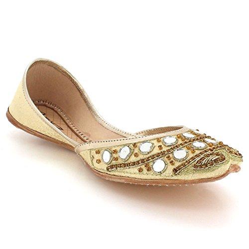 AARZ LONDON Frau Damen Traditionell Ethnisch Braut Handarbeit Leder flach Khussa Indische Pumpen Schlüpfen Gold Schuhe Größe 38