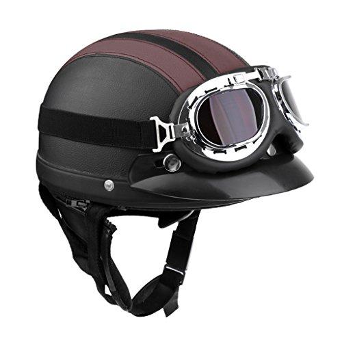 Sharplace Motorrad Herren Jet Helm Fahrradhelm mit Visier UV-Schutzbrillen Retro Vintage-Stil - Schwarz Braun
