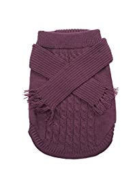 Dog Scarf Sweater-Plum Extra Small by Ethical Pets