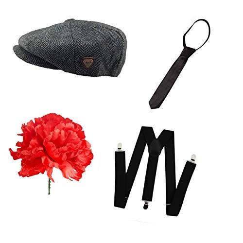 Seemeinthat Erwachsene Peaky Blinders Style Gangster Mobster 8 Panel Flat Cap schwarz Hosenträger Krawattenset mit ()