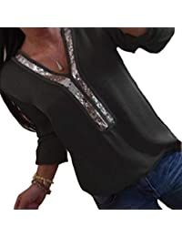 DEMO SHOW Damen Chiffon Bluse Langarm Pailletten V Ausschnitt Freizeit Tunika Blusen T Shirt Tops