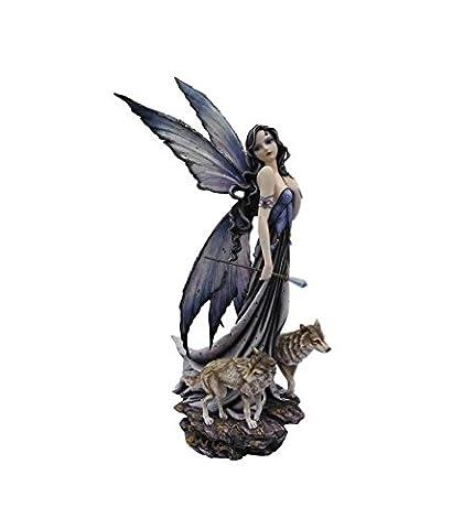 angela marteen - Statue fée Audrica et ses loups 69 cm