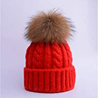 HAOLIEQUAN Wintermützen Für Mädchen Jungen Kinder Schwarz Pompom Hut Häkeln Strickmütze Mädchen Hut
