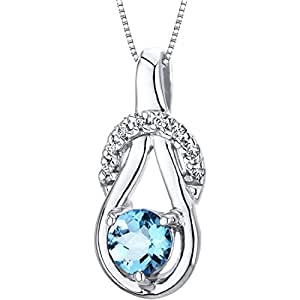 Revoni Swiss Blue Topaz Pendant Necklace Sterling Silver Checkerboard Cut 0.50 Carat