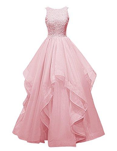 Dresstells, Robe de soirée Robe de bal Robe de cérémonie asymétrique en organza emperlée Blush