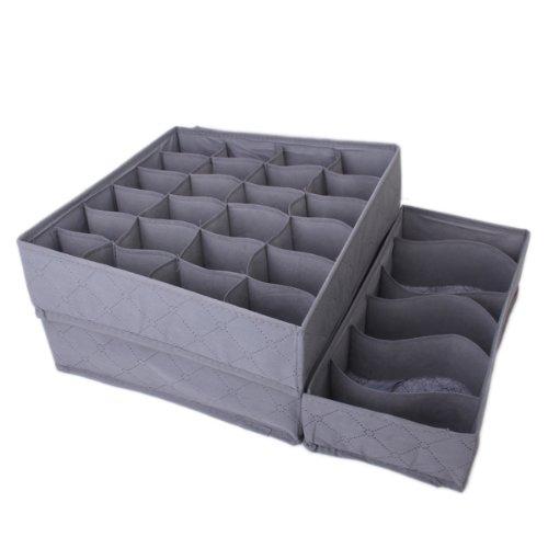 3pcs Caja De Almacenamiento De Carbón De Bambú Plegable De Ropa Interior y Calcetines Lazos Divisor Organizador