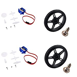 RCmall Feetech FS90R Micro Servo, 360 Degree Continuous Rotation RC Servo 6V 1.5KG with Wheel (2PCS Pack) from UNIKEL