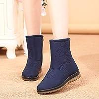 Zapatos Invierno Mujer Botas De Nieve,Cremallera Lateral Bordados Azul Tubo Corto Invierno Cálido Suave Tubo Medio Madre Middle-Aged Confortables Botas De Algodón Silvestre Mujer Antideslizante Ext