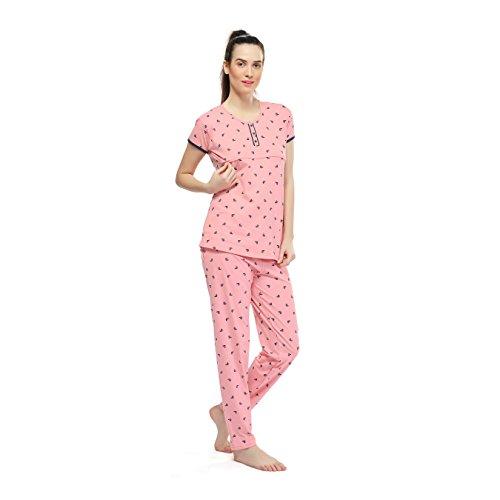 fbc227cf2aee3 Home / Women / ZEYO Women's Cotton Pink, Peach & Navy Blue Feeding Night  Suit   Nursing ...