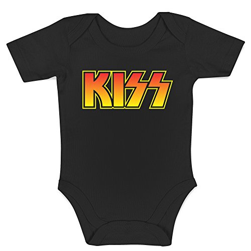 LaMAGLIERIA Body Bebè Kiss Coloured Logo - Body Metal Rock 100% Algodon, 3-6 Meses, Negro
