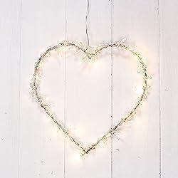 Guirnalda en forma de corazón de 40 LEDs de luz blanca cálida