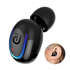 Idea Regalo - Auricolare Bluetooth, Cuffie Senza Fili 8 ore di Conversazione con Microfono HD Wireless Auricolari per iPhone Samsung e altri - Nero