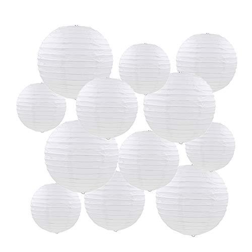 """Linternas de papel,12 piezas blanco redondo linterna globo decoraciones colgantes con distintos tamaños para la boda cumpleaños fiesta de bienvenida al bebé decoración para el hogar 6""""8"""" 10"""""""