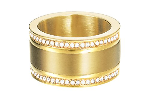 Esprit Fashion Damen-Ring ES-CLASSY PURE GOLD Edelstahl rhodiniert Glas transparent Gr. 57 (18.1)