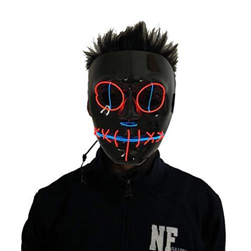 Upxiang Halloween Luminous Totenkopf Maske - LED Neon Draht Glühende Geister Skull Light Maske - Maskerade Party Halloween Glow Maske (Rot)