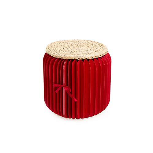Tragbarer runder Hocker aus massiver Buche mit Holzbeinen, Klapphocker aus Kraftpapier, Fußhocker mit Wabenstruktur, Origami-Modestühle,C (Kraft Origami-papier)