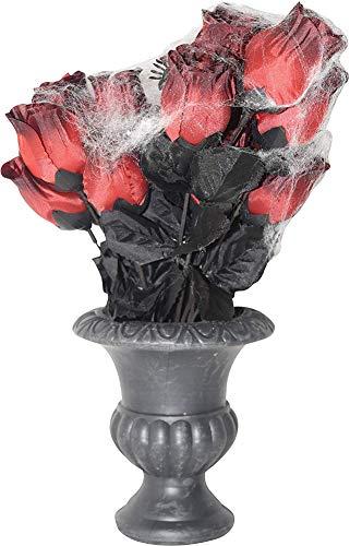 rauß mit Spinnweben in Vase, Halloween-Dekoration, 33 cm ()