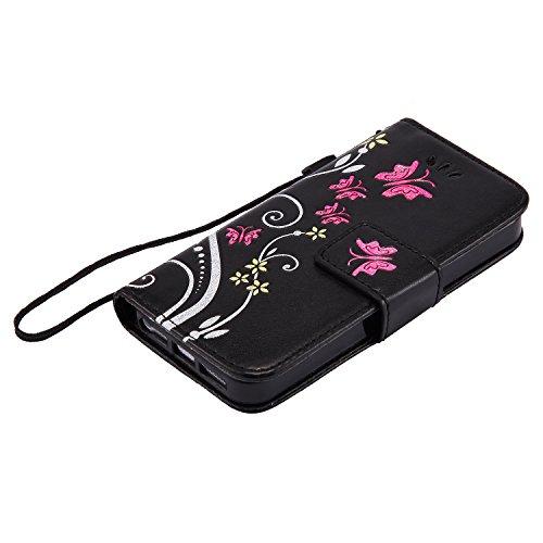 Close Cover per Apple iPhone 5/5s/SE, CLTPY Retro Colorati Marmo Flower Dipinto Copertura di Progettazione Folio PU e Tasche Card Slot, Morbido TPU Interno Supporto Protettiva Caso per iPhone 5,iPhone Nero
