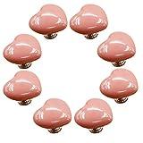 FBSHOP(TM) 8pcs 38mm Rosa Lovely Heart Shape Keramik Türknauf /MöbelKnopf /Möbelgriffe für Küche Schränke, Kleiderschrank, Kommode, Schublade,Schranktür Schlafzimmer und Badezimmer KinderZimmer Dekor etc