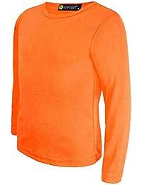 d9802edcf69f5 LOTMART Pour Enfants Uni Basique Haut Manches Longues Garçon Fille T-shirt  haut Col rond